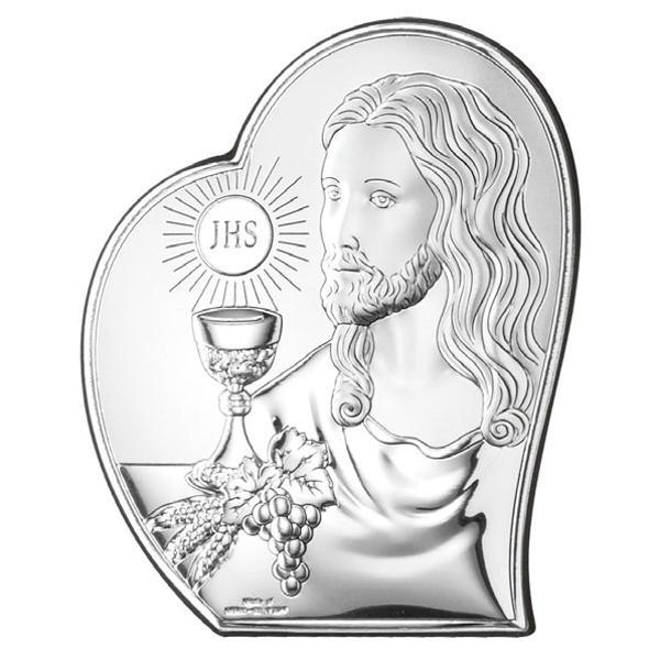 Icoana Argint Comuniune Iisus 9X11 Cm
