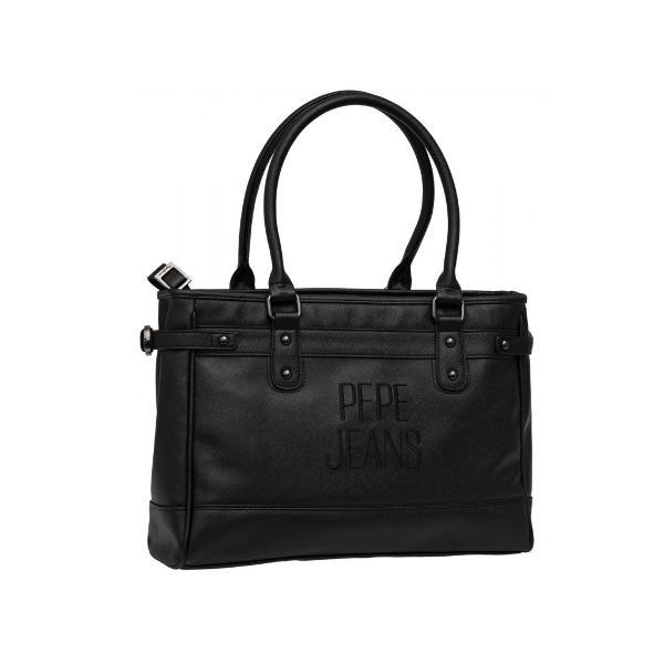 Geanta Pepe Jeans Embroidery 38 cm piele ecologica culoare negru cu compartiment special pentru laptop buzunare interioare si manere fixe