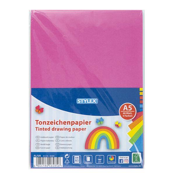 Set de 40 de cartoane colorate cu greutate de 200 grm2 dimensiune A5Setul contine 5 culori 9 cartoane pe fiecare culoare