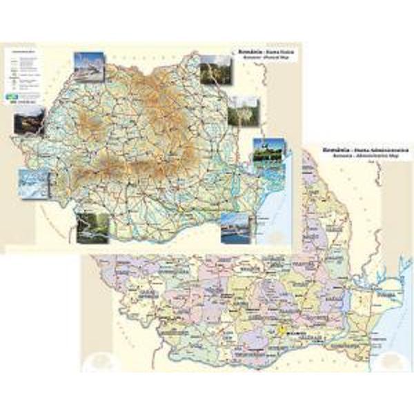 Plansa Romania fizica si politica A3