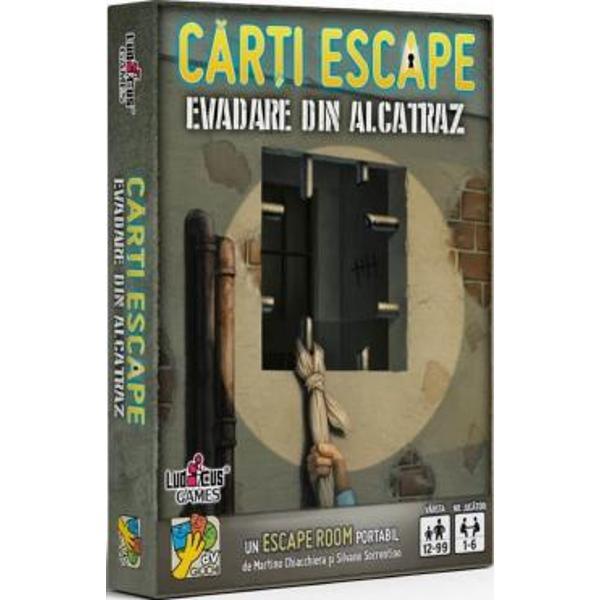 Evadare din Alcatraz este un Escape Room portabil pentru un grup de prieteni dar pe care îl po&539;i juca &537;i singurNimeni nu a mai evadat din Alcatraz Insula este la mai bine de 1 km distan&539;&259; de &539;&259;rm înconjurat&259; de ape reci ca ghea&539;a pline de rechini fl&259;mânzi - &537;i s&259; nu mai pomenim de patrulele de g&259;rzi aflate mereu în stare de alert&259; Cine te-a adus aici De ce CândAi o
