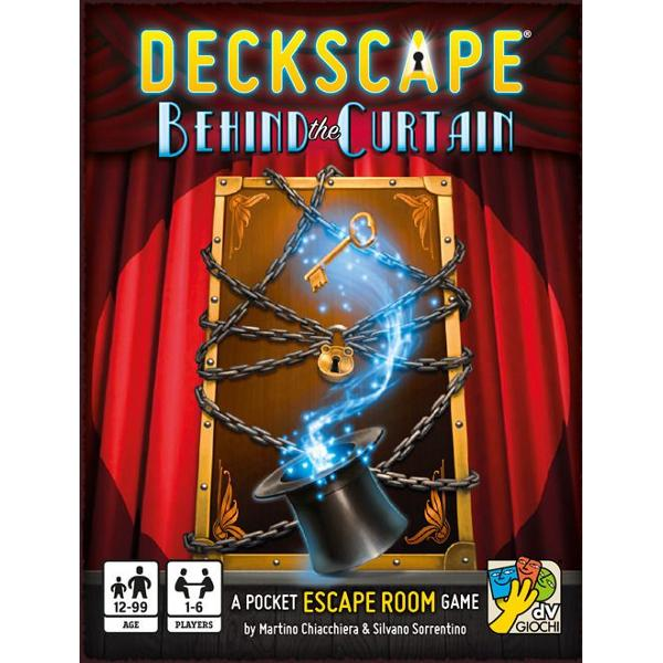Deckscape Behind the Curtain is the fifth title in a series of cooperative games inspired by real escape rooms in which a group of people is trapped inside a room full of puzzles and odd items The goal of the game is to solve puzzles understand the plot of the story and make intelligent use of the items provided in order to exit from the room as quickly as possible