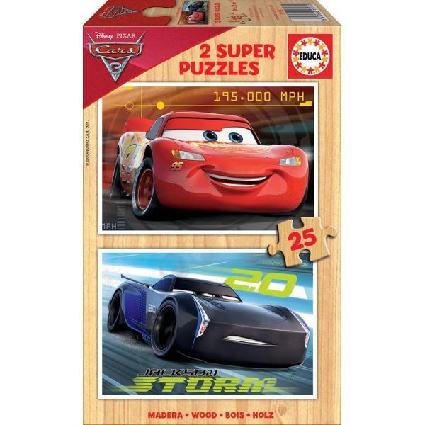 Puzzle Cars 32 puzzle-uri de lemn a cate 25 piese Puzzle-urile asamblate au26 x 18 cm