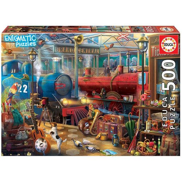 Puzzle Enigmatic Train StationPuzzle 500 piesePuzzle-ul asamblat are 48x 34cm