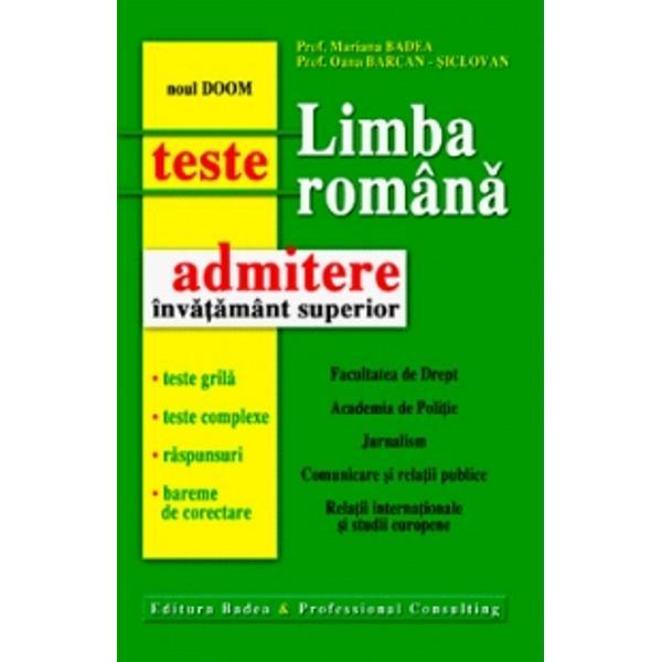 Limba romana teste grila teste complexe pentru admiterea in invatamantul superior