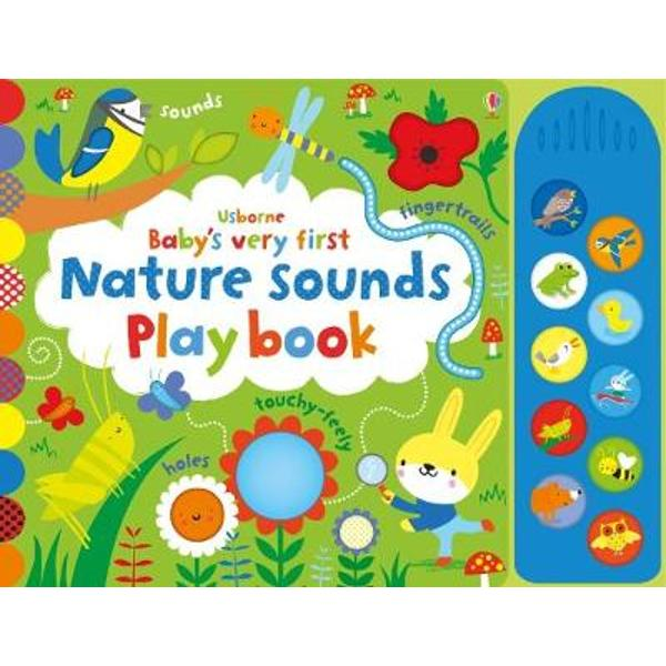 Babies will love looking at the bright pictures listening to the sounds lifting the flaps and running their fingers over the touch-feely patches in this delightful book They can match the sound buttons to the pictures to hear gentle music and ten different animal sounds including an owl hooting bees buzzing and a frog croaking