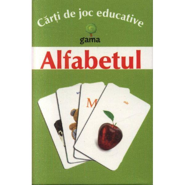 Pachetul con&539;ine·25 de carduricu litere mari &537;i mici de tipar ·25 de carduricu imaginiScopul jocului este înv&259;&539;area alfabetului prin asocierea fiec&259;rei litere cu un cuvânt care începe cu acea liter&259;