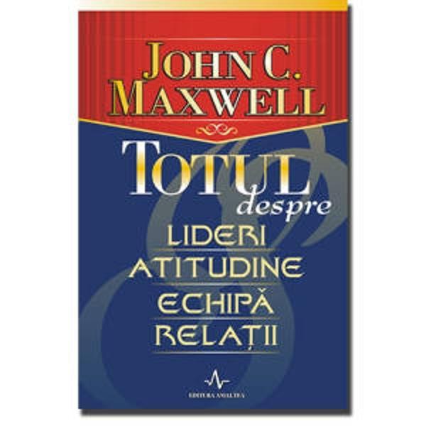 Iata afirmatiile-cheie care constituie fundamentul teoriilor lui John Maxwell expuse concis si limpede in aceasta noua carte ce trece in revista nu numai toate fatetele succesului personal dar si modul in care putem incepe dezvoltarea personala si evolutia benefica a celor care ne inconjoara adevarata misiune pe care o avem de indeplinit In viata si implicit in stiinta conducerii totul se invata Iar John C Maxwell ne ofera din nou principii inovatoare care au trecut deja testul