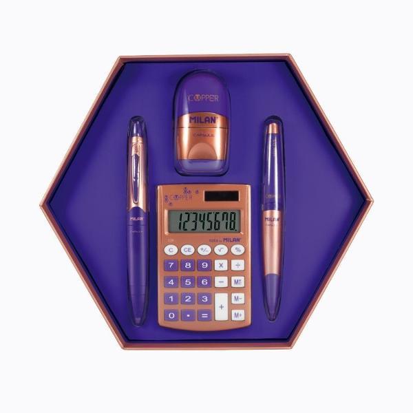 Set in forma hexagonala special conceput pentru a fi daruit cadou celor dragiCon&539;ine 4 produse violet 1 ascutitoare cu radiera CAPSULE COOPER violet 1 pix CAPSULE COOPER cu cerneala albastra 1 creion mecanic CAPSULE COOPER negru 05 mm 1 calculator de 8 cifre COOPERDimensiuni 220 x 195 x 35 mm 024 kg