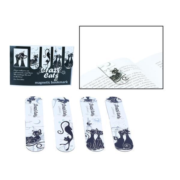 Set 4 bucati Semn carte pisici negre 20x54mm 0134140
