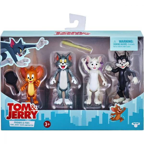Brand Tom and JerryCuloare MulticolorPentru Baieti FeteVarsta 3 - 4 ani 4 - 5 ani 5 - 6 ani 6 - 7 ani 7 - 8 aniGTIN 630996144589Recreeaza cateva dintre scenele tale preferate din filmul Tom and JerryPachetul contine- 4x figurine Tom Jerry Toots Butch- 2x