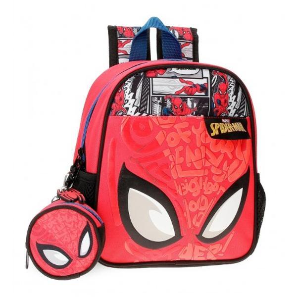 Ghiozdan gradinita 25 cm Spiderman Comic - cu mini borseta detasabila bretele ajustabile  ergonomice culoare multicolor cu imprimeu personaj Spiderman material poliester dimensiune 23x25x10 cm 1 compartiment inchidere cu fermoar maner superior 2 buzunare laterale