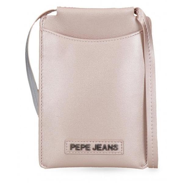 Geanta umar cu comp telefon Pepe Jeans Cira roz metalizat - culoare roz metalizat bareta  lungimea baretei aproximativ 80 cm compartiment special pentru telefon 1 compartiment material piele ecologica dimensiune 13x18x1 cm inchidere cu fermoar