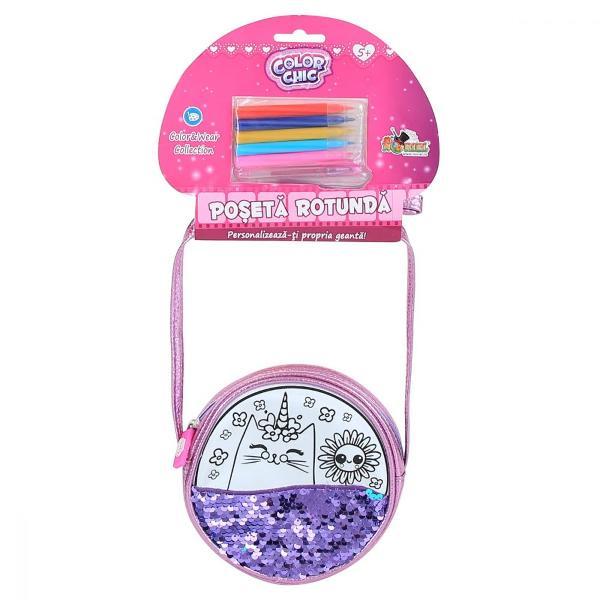 Brand Color ChicTip produs PosetaCuloare MulticolorPentru FeteVarsta 5 - 7 ani 7 - 10 ani 10 - 12 ani 12 ani Personalizeaza-ti poseta rotundacolorand-o cu cele 5 markere incluse si poarta-o in stilul tau unicContine- poseta rotunda cu paiete- 5