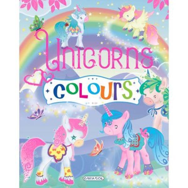 Carte de colorat Unicorns Colours - mov