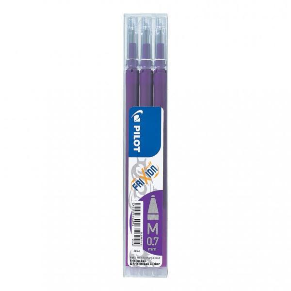 Set de 3 rezerve culoarea violet pentru rollerele cu gel FriXion Ball FriXion Slim &351;i FriXion ClickerProdus reînc&259;rcabil Economic &537;i prietenos cu naturaDatorit&259; cernelii termosensibile scrie &537;terge rescrie imediatDimensiune vârf  070 mmDimensiune scriere  035 mmCuloare cerneal&259;  Violet