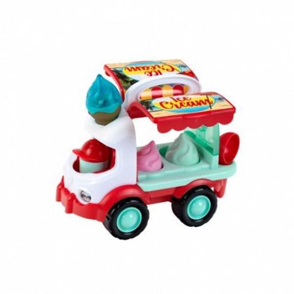 Camionul de inghetata jucarie pentru plaja KleinContine con de inghetata cu lumini si sunet1 x lingura de inghetata1 x con de inghetata2 x forme pentru inghetate detasabilerecipient cu capac pentru nisip