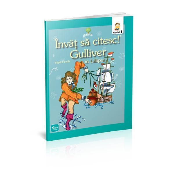 """""""Gulliver în Lilliput""""se adreseaz&259; micilor cititori încep&259;tori care abia încep s&259; citeasc&259; fluent Cartea repovestire dup&259;Jonathan Swiftinclude ilustra&539;ii deasupra cuvintelor pentru a u&537;ura asocierea cuvânt-sens"""