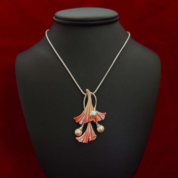 Colier rodiat cristale perle 427cm 6187