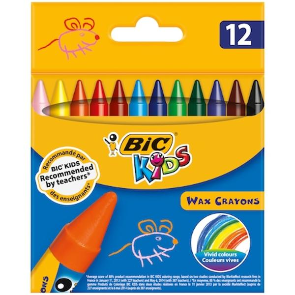 Ideal pentru copii deoarece creionul este protejat de un invelis de hartieCulori viiProdusul se poate folosi din toate unghiurileVarsta 3Produsul respecta standardul european pentru jucarii EN71 si este testat anual de un laborator independentCreioane cerate 12 culori Wax Crayons Bic