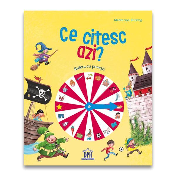 Ce citesc azi Ruleta cu pove&537;ti este o carte plin&259; de aventuri misterioase &537;i întâmpl&259;ri haioase pentru to&539;i copiii cu vârsta peste 4 aniAceast&259; carte de lectur&259; capteaz&259; imediat aten&539;ia copiii folosesc Ruleta cu Pove&537;ti de pe copert&259; &537;i este deja clar ce se va citi Pur &537;i simplu trebuie s&259; roteasc&259; indicatorul s&259; caute imaginea în cuprinsul c&259;r&539;ii &537;i s&259;