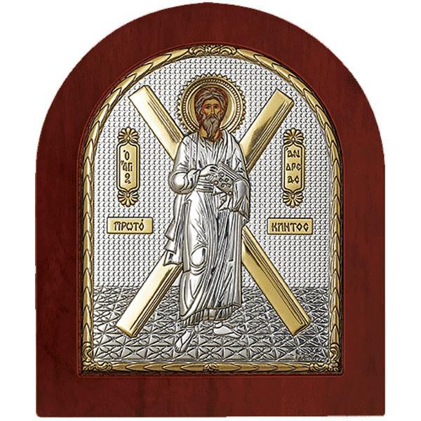 Icoana argintata Sfantul AndreiEste ambalata intr-o cutie de cadouFabricata si binecuvantata in Grecia