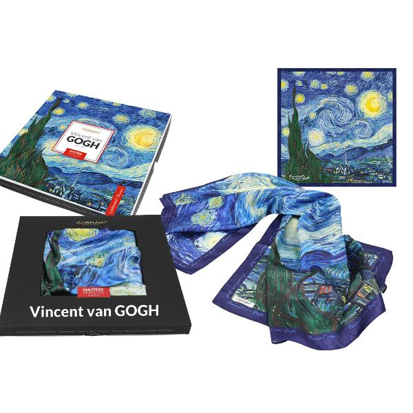 Esarfa Van Gogh noapte instelata 90x90cm 0239021