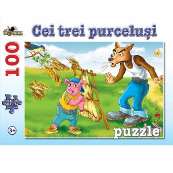 Un puzzle colorat haios si distractiv pentru toti copiii care iubesc povestile Imagini din cele mai indragite povesti in 100 de piese de calitate