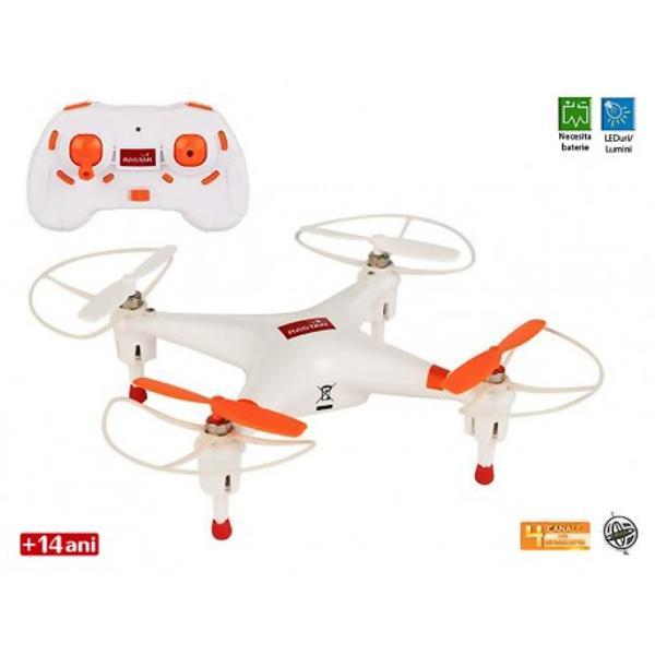 Drona RA-A007este o drona de dimensiuni mici insa cu multe functii posibile Ambalajul contine atat drona cat si o radiocomanda cu 4 canale de captare si 2 elice de rezervaDimensiunile aprox175 x 16x 45 cm