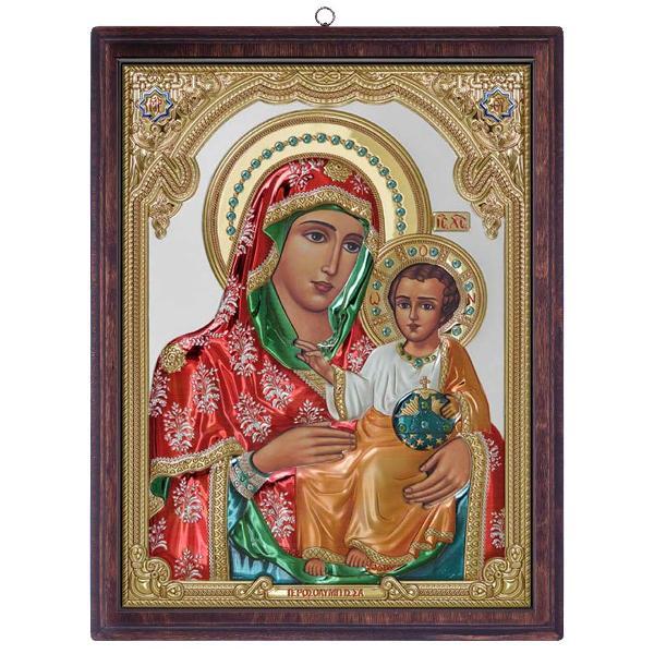 Icoana Argint Maica Domnului Ierusalim 17X215cm ColorCu decoratiuni Aurii si colorata Suport de lemn Poate fi asezata atat orizontalpe birou cat si agatata de perete Cutie de cadou inclusa