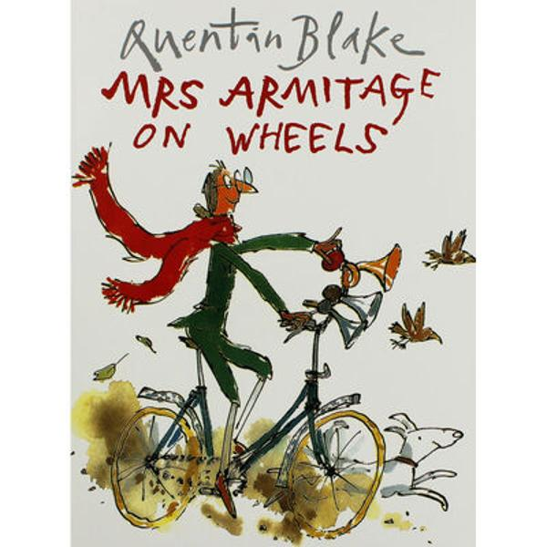 Mrs Armitage sets off for a quiet cycle with her faithful dog Breakspear but she just cant help thinking of ways to improve her bicycleBefore very long she has added three very loud horns a bucket of water to wash her hands a complete tool kit And by the time she has also added a seat for Breakspear two umbrellas a cassette player and a mouth-organ Mrs Armitage is riding a very eye-catching contraptionBut it is when she finally adds the mast and sail that