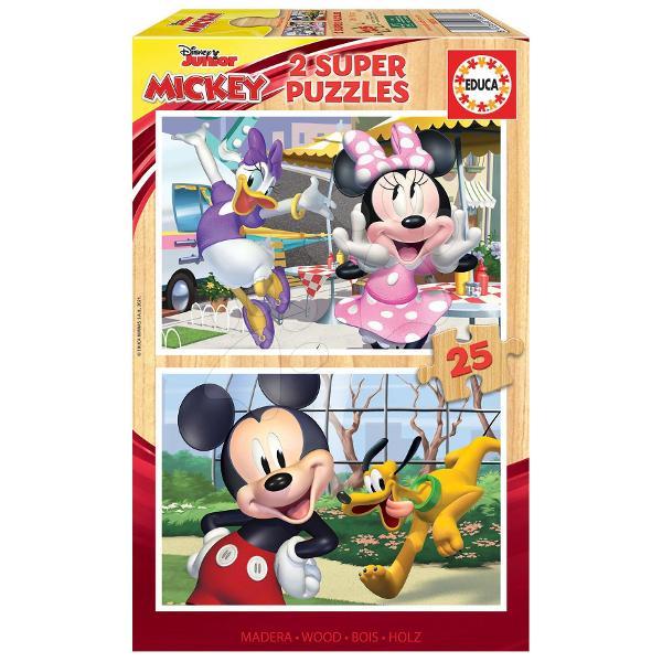 Puzzle-ul din lemn pentru copii Mickey&Friendscu popularul motiv din atelierulDisneyva încânta pe to&539;i b&259;ie&539;ii &537;i fetele de la vârsta de 4 ani care iubesc eroul animatMickey Mouse&537;i prietenii s&259;i inclusiv Daisy Minnie &537;i PlutoDup&259; asamblarea puzzle-ului acesta se poate plia &537;i a&537;eza înapoi în cutie Jocul copiilor cu