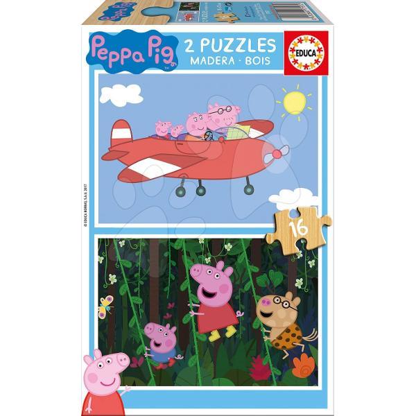 Puzzle-ul din lemn pentru copiicu motivul purcelu&537;ei simpaticePeppa Pigeste potrivit pentru copiide la 4 ani Fiec&259;rui copil îi place un puzzle cu motiv vesel &537;i colorat Ambalajul acestui puzzle pentru copii include un set de dou&259; imagini din seria animat&259;Peppa Pig care le plac multor copii Fiecare imagine este compus&259; din16 piese de