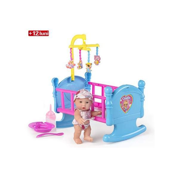 Leagan de bebelus Baby SweetLeaganul de bebelus Baby Sweet&160;este cadoul perfect pentru fetitele grijulii si vioaie ce vor sa ofere bebelusilor lor de jucarie un loc de dormit pufos si comod&160;Bebelusul este inclus in set impreuna cu&160;leaganul si accesoriile de hranit&160;Dimensiuni aprox&160;275 x 20 x&160;75 cm