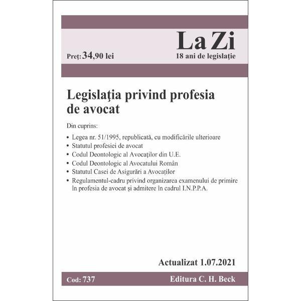 Despre lucrarePrezenta edi&539;ie a culegerii include toate modific&259;rile aduse actelor cuprinse în culegere pân&259; la1072021 inclusiv modific&259;rile aduseLegii nr 511995 republicat&259;Din cuprinsLegea nr 511995 pentru organizarea &351;i exercitarea profesiei de avocat republicat&259;Statutul profesiei de