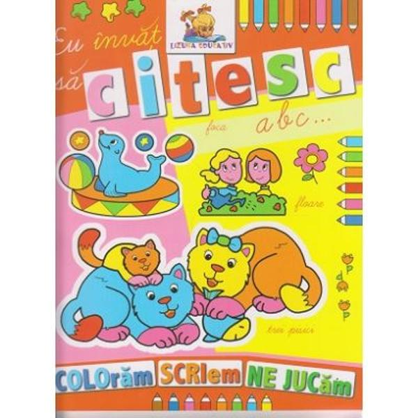 Carte de colorat educativa cu ajutorul careia cei mici vor invata citireaCartea este in format A4 avand o calitate grafica deosebita fiind imprimata pe hartie rezistenta potrivita pentru cei mici