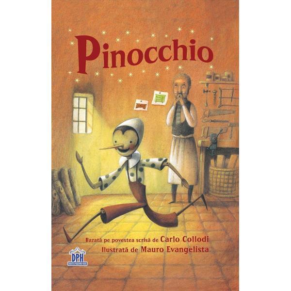 """Pentru copiii de la 9 ani """"Numai b&259;ie&355;ii cumin&355;i au &351;ansa s&259; devin&259; b&259;ie&355;i adev&259;ra&355;i"""" avertizeaz&259; greierul cel în&355;elept Dar oricât ar încerca Pinocchio nu se poate &355;ine departe de belele Vân&259;tori de comori prieteni necinsti&355;i &351;i bâlciuri toate îl"""