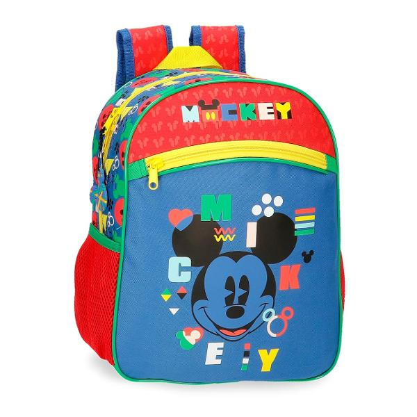 Ghiozdan grupa 0 Mickey Shape Shifter - 1 compartiment bretele ajustabile  ergonomice culoare multicolor cu imprimeu personaj Mickey Mouse material microfibra dimensiune 27x33x11 cm inchidere cu fermoar 2 buzunare laterale 1 buzunar frontal maner superior