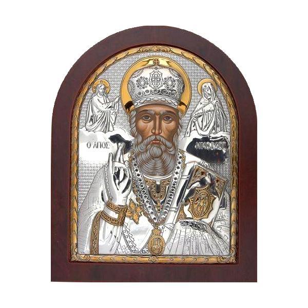 Icoana Argint Sfantul Nicolae 81×96cmDatorit&259; numeroaselorminuniatribuite lui este cunoscut &537;i sub numele deNicolae f&259;c&259;torul de minuniSfântul Nicolae estepatronulcopiilor &537;i studen&539;ilor ho&539;ilor care regret&259; marinarilor negustorilorarca&537;ilor Legendarul s&259;u obicei de a da daruri secrete a dat na&537;tere sarbatorii cu acelasi nume cand copii primesc daruri in secret Se