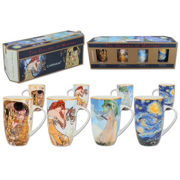 Set 4 cani - Klimt Mucha Van Gogh Monet 350ml 0451600