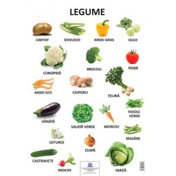 Plansa aceasta educativa ilustreaza legume precum- Cartof- Dovlecei- Ardei gras- Gulii- Conopida-  Brocoli- Rosiep