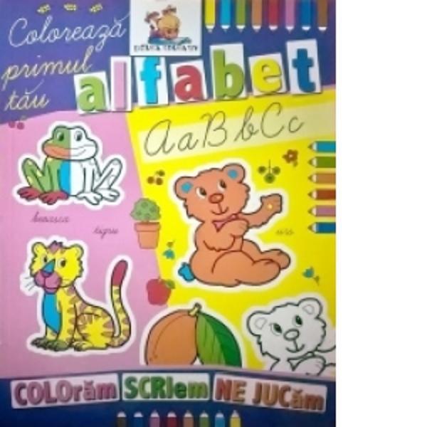Carte de colorat educativa cu ajutorul careia cei mici vor invata alfabetulCartea este in format A4 avand o calitate grafica deosebita fiind imprimata pe hartie rezistenta potrivita pentru cei mici