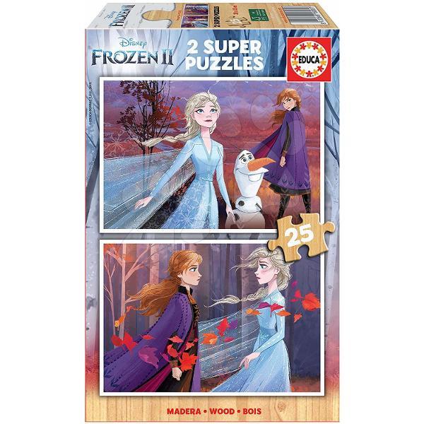 Puzzle din lemnpentru copii cumotivulfimuluiFrozen Regatul de ghea&539;&259;este o surpriz&259; frumoas&259; pentru fiecare copil de la vârsta de 4 ani Acest puzzle pentru copii include un set de dou&259; imagini cuprin&539;esele Elsa &537;i Anna iar cei mici se pot bucura &537;i deomul de z&259;pad&259; Olaf Fiecare imagine este format&259;