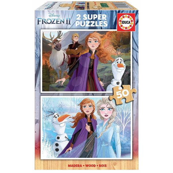 Puzzle din lemnpentru copii cumotivulfimuluiFrozen Regatul de ghea&539;&259;este o surpriz&259; frumoas&259; pentru fiecare copil de la vârsta de 5 ani Acest puzzle pentru copii include un set de dou&259; imagini cuprin&539;esele Elsa &537;i Anna iar cei mici se pot bucura &537;i deomul de z&259;pad&259; Olaf&537;i