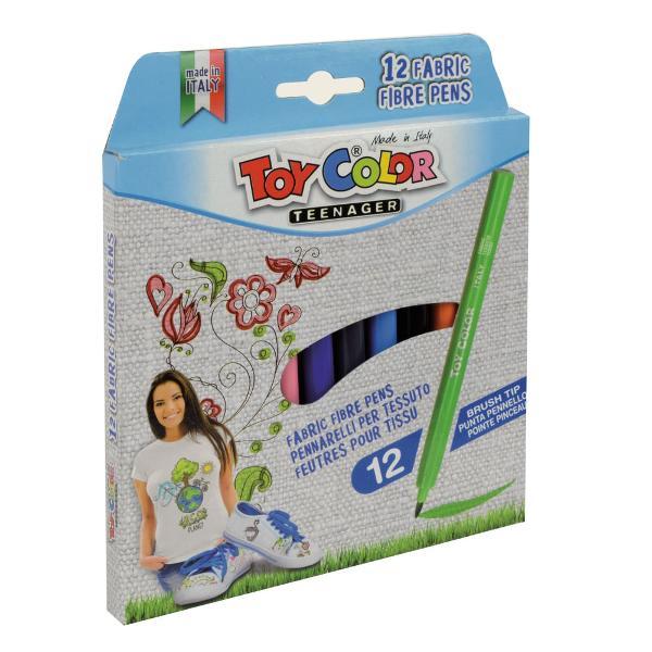 Carioci Toy Color pentru textile 12 culoriVârful ac&355;ioneaz&259; ca o pensul&259; fiind potrivit pentru decorarea tuturor tipurilor de textileCerneala este pe baz&259; de ap&259;Culorile rezist&259; la sp&259;lare automat&259; pân&259; la 40°CPentru a fixa culoarea pe material se calc&259; cu un fier caldPentru siguran&355;a copiilor capacul tuturor cariocilor din brandul Toy Color con&355;ine