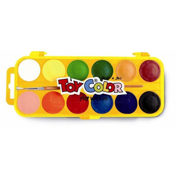 Acuarele Toy Color 12 culoriDenivel&259;rile de pe tableta de culoare ajut&259; la uscarea natural&259; a acestora f&259;r&259; s&259; diminueze calitatea materialelor utilizate în produc&355;ieNuan&355;ele pot fi amestecate între ele pentru a extinde paleta de culoriSe îndep&259;rteaza cu u&351;urin&355;&259; de pe piele &351;i de pe cele mai multe tipuri de &355;es&259;turi doar cu ap&259; receNu con&355;in gluten