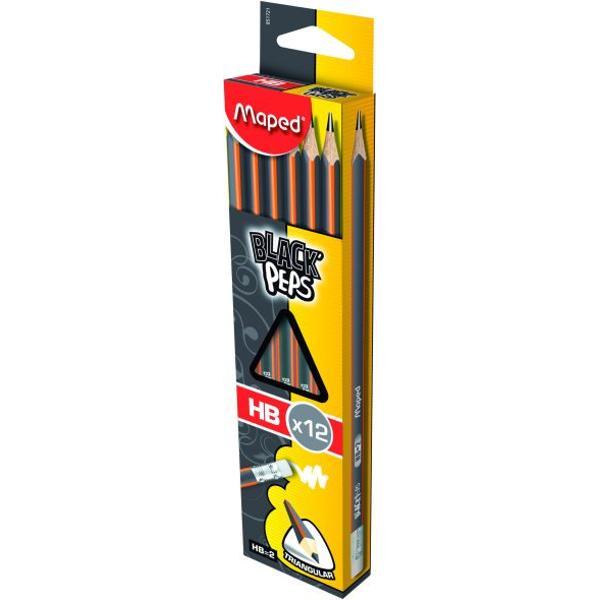 CREIOANE CU GUMA MAPED HB-• creion HB cu radiera Maped realizat din lemn de tei • rezistent la mestecare fara aschii chiar daca se rupe • corp triunghiular pentru o scriere confortabila • diametru minei 22 mm • mina de calitate superioara rezistenta la socuri • mina HB