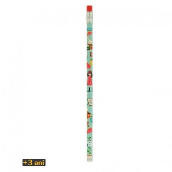 Kori Kumi Creion HB Melon Showerseste un creion de lemn neascutit infatisand designul Kori KumiMelon Showers Creionul cuprinde de asemenea o radiera rosie cu inimioara verde atasata de partea principala de lemn printr-o fasie modelata de metalDimensiune aprox 19 x 08 cm