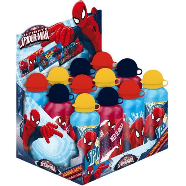 Recipient pentru apa 500ml Spiderman Recipient din aluminiu pentru baut apa cu SpidermanSe spala manual inainte de prima utilizareA nu se introduce in cuptorul cu microunde sau in masina de spalat vaseDimensiuni19x7cmVarsta 3