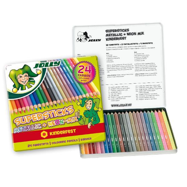 Creioane colorate JOLLY metalizate mix -24 culori in cutie metalicaContin 8 culori metalizate4 neon12 clasiceIdeale pentru cadouCalitate deosebitaAmbalaj cutie metalica